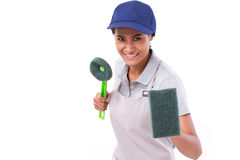 Confident, professional female cleaner ready for duty Stock Photography