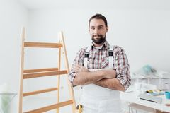 Professional painter posing stock images
