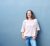 Confident relaxed trendy middle aged woman smiling Royalty Free Stock Image