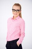 Confident relaxed woman in glasses Royalty Free Stock Images