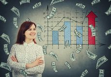 Confident rich businesswoman. Confident, rich businesswoman smiling with crossed hands and a rain of dollars falling down. Positive economic graph, increasing Royalty Free Stock Image