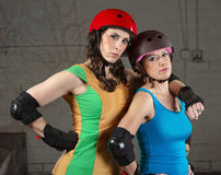 Confident Roller Derby Skating Partners Stock Image