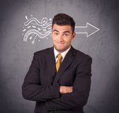 Confident sales person solves problem royalty free stock images