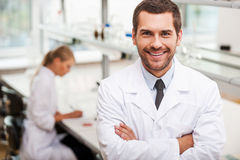 Confident scientist. stock image