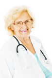 Confident Senior Doctor Over White Background Stock Images