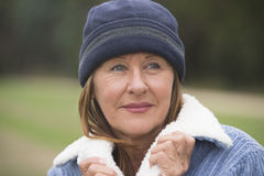 Confident senior woman warm winter clothes Royalty Free Stock Photography