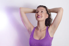 Confident, sensual young woman with braces Stock Photo