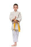 Confident serious boy in kimono Royalty Free Stock Photo