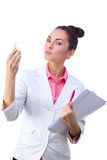 Confident, serious doctor holding chart and Royalty Free Stock Image