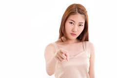 confident, serious woman pointing finger at you Royalty Free Stock Image