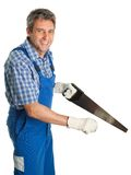 Confident service cutting with saw Royalty Free Stock Photo