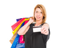 Confident shopping woman hold credit or debit card Stock Photos