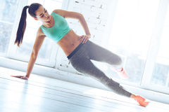 Free Confident Side Plank. Royalty Free Stock Photo - 69632575