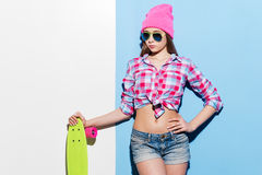 Confident skater girl. Royalty Free Stock Photography