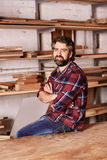 Confident small business owner in a woodwork workshop Royalty Free Stock Photography