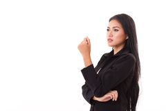 Confident, smart, professional asian businesswoman looking up Stock Photography