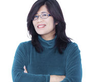 Confident smiling Asian female arms crossed Stock Photography