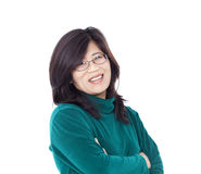 Confident smiling Asian female in green shirt, Royalty Free Stock Image