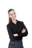 Confident smiling business woman. Isolated on white. Royalty Free Stock Photo