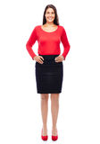 Confident smiling business woman. Business woman wearing red portrait isolated on white background Royalty Free Stock Image