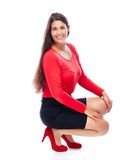 Confident smiling business woman. Business woman wearing red portrait isolated on white background Stock Images