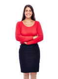 Confident smiling business woman. Business woman wearing red portrait isolated on white background Stock Photo