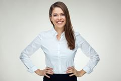 Confident smiling businesswoman isolated portrait. Stock Photos