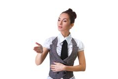 Confident Smiling Businesswoman On A White Royalty Free Stock Image