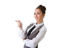 Confident Smiling Businesswoman On A White Royalty Free Stock Photography