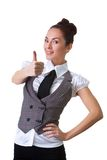 Confident Smiling Businesswoman On A White Stock Photography