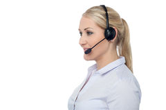 Confident smiling female customer support staff Stock Photo
