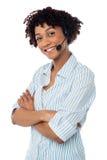 Confident smiling female telecaller Royalty Free Stock Photos