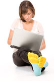 Confident smiling girl with laptop close-up Stock Photos