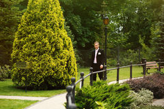 Confident smiling handsome groom in suit walking in the park Stock Images
