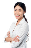 Confident smiling pretty girl posing sweetly Royalty Free Stock Photography