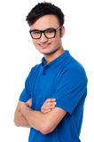 Confident smiling smart guy wearing spectacles Royalty Free Stock Photo