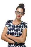Confident Smiling Woman in a Trendy Fashion Stock Photography