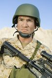 Confident Soldier With Sniper Rifle Royalty Free Stock Photo