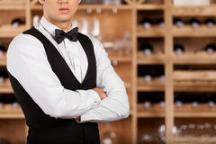 Confident sommelier. Cropped image of confident young sommelier standing in front of shelf with wine bottles and keeping arms crossed Royalty Free Stock Image