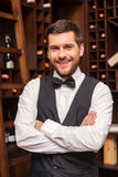 Confident sommelier. Confident male sommelier keeping arms crossed and smiling while standing near the wine shelf Stock Images