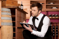 Confident sommelier. Royalty Free Stock Images