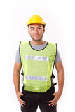 Confident, strong construction worker. On white background Stock Photos