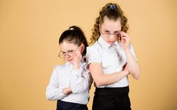 Confident students. friendship forever. back to school. study concept. smart small girls at lesson. girls in school royalty free stock photography