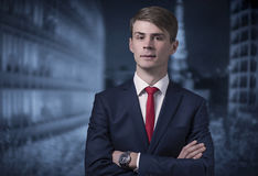 Confident stylish young man in a business suit Royalty Free Stock Image
