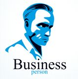 Confident successful businessman handsome man business person vector logo or illustration realistic drawing. Style vector illustration