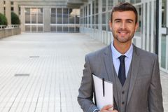Confident and successful. Cheerful attractive man in suit and tie.  Stock Image