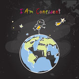 Confident successful child, teen girl. Confident child, girl, happy successful teen, schoolgirl on top of the world, globe. Conceptual vector illustration, chalk royalty free illustration