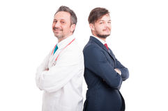 Confident and successful doctor and lawyer royalty free stock photo