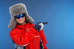 Confident successful man in winter hat and sport coat. Stock Photos
