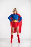 Confident superwoman. Full-length portrait of confident beautiful super woman Stock Photo